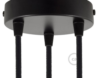 Black 3 Holes Cylinder Canopy Kit, bracket, screws and 3 cable retainers. Create multiple pendants!