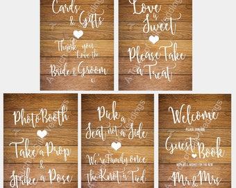 Bundle - Light Wood Effect Wedding Signs