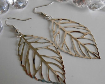 Leaves watermarked Silver earrings