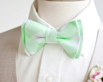 "Bow Tie, Mens Bow Tie, Bowtie, Bowties, Bow Ties, Bowties, Mint Bow Tie, Groomsmen Bow Ties, Wedding Bow Ties - 1"" Mint Green Gingham Check"