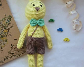 Handmade baby toys Sunny knitted bunny Toys for baby easter bunny doll bunny toy Bunny amigurumi Bunny toy Crochet Bunny Easter Toy