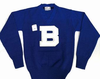 Vintage 1940s 1950s Coane Letterman Sweater Pullover / V neck / NOS / Deadstock