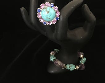 turquoise and amethyst crystal inspired  bracelet with pink and blue ring set.