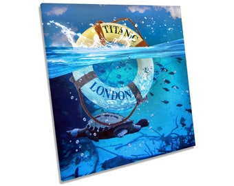 Titanic Ship Lifebuoy Picture CANVAS WALL ART Square Print