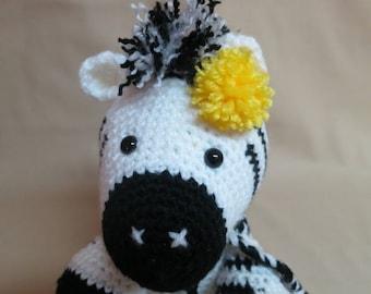 Crocheted amigurumi zebra stuffed toy plushie, ready to ship, OOAK