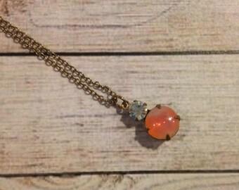 Vintage Swarovski Crystal Necklace, Hyacinth Sabrina Stone Necklace, Two Stone Vintage Necklace, Crystal Pendant Necklace, Vintage Swarovski