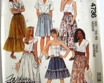Easy Sew Misses Dirndl Skirts 6 Styles, Two Lengths, Ruffle and Trim Variations Size M (14-16) Vintage 1990 McCalls Pattern 4736 UNCUT