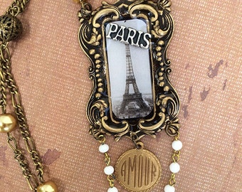 Paris Theme Assemblage Necklace Brass Pearls Beads Charms Amore