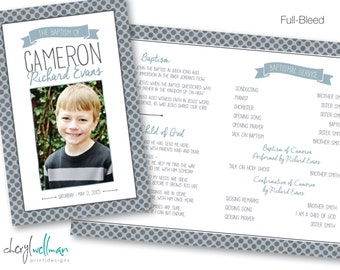 Printable Folded Baptism Program - Boy