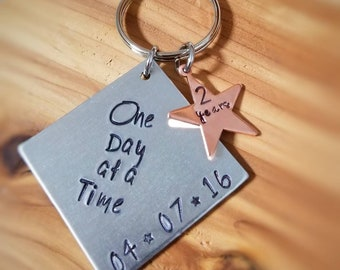 Sobriety Gift - Sobriety Gift for Men - One Day at a Time Key Chain