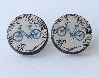 bicycle earrings, bicycle earrings studs, bicycle earrings ivory, bicycle earrings round, BICYCLETTE, sterling silver post and butterfly