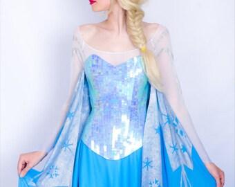Elsa costume cosplay adult dress Frozen Disney princess Queen of Arendelle blue dress fancy dress Halloween costume  sc 1 st  Etsy & Elsa costume adult | Etsy