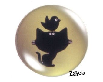 2 cabochons 20mm glass, cat and bird silhouette, Khaki and black