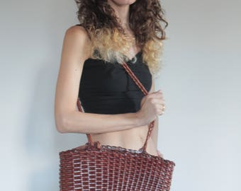 70's brown leather woven boho shoulder bag/ gorgeous basket woven technique