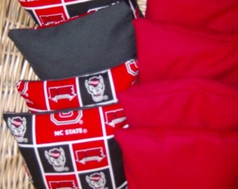 8 PC Corn hole bags 4 in NC State Cotton Print over Duck canvas and 4 Red Duck Canvas bags will meet ACA Standards