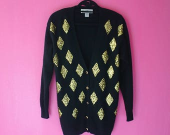 80s Gold Sequin Diamonds Angora Cardigan