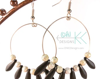 EarringsBlack daggar beaded hoop earrings