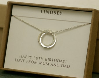 30th birthday gift for her, dainty sterling silver 3 rings necklace, 3 sister jewelry, graduation gift, friendship necklace - Lilia
