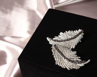 Leaf Earrings Silver ,Statement Earrings, Hematite Stone,