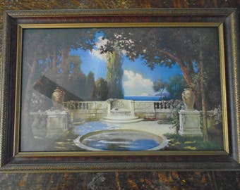 R. Atkinson Fox Lithograph Old Wood Frame