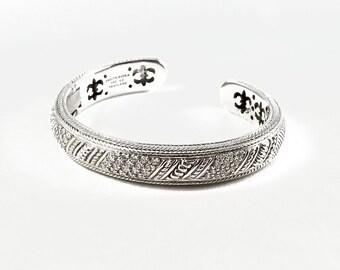 Judith Ripka Sterling JR Diamonique Fancy Silver Cuff Bracelet