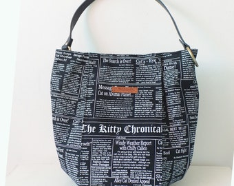 Modern Shoulder Bucket Bag - *Feline Newspaper