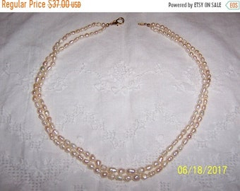 "SUMMER SALE 20% OFF, Vintage White Fresh water pearls 2 strands necklace, 18 "" long. Golden clasp."