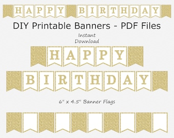 Happy Birthday Banner - White & Gold Glitter - PRINTABLE - INSTANT DOWNLOAD