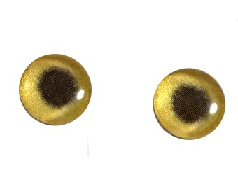 10mm Golden Metallic Glass Eyes for Jewelry Pendants or Polymer Clay Art Doll Making or Taxidermy Sculptures and Crafting - Set of 2
