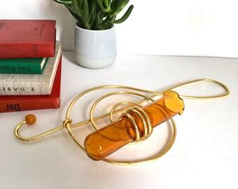 Treble clef vase, G clef vase, quirky vintage single stem vase, single flower window vase, orchid vase, music note, gift for music lover