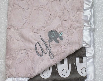 Embroidered Minky Blanket, Blanket with name, Personalized Blanket, Baby girl Gift, Elephant Blanket, grey and pink, luxe hide, rosewater