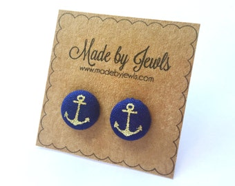 Navy Blue and Metallic Gold Nautical Anchor Handmade Fabric Covered Hypoallergenic Button Post Stud Earrings 10mm