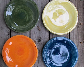 Set of four rustic ceramic pottery dinner plates made to order tableware kiln fired choose colors