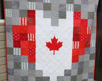 Custom homemade Quilt, Canadian Flag Quilt, Heart Quilt, Canadian Flag Shaped Heart Quilt, Gift for Canadian, Canada Day, Canada gift