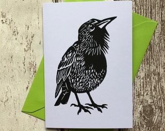 Starling greeting card – blank inside | Bird card | Black and white bird