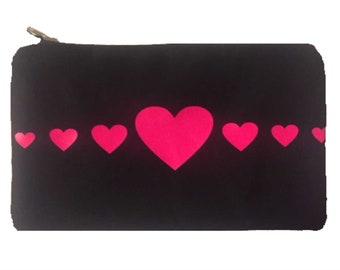 Cosmetic Bag, Pencil Bag, Pink Hearts Bag, Canvas Bag, Small Purse, Canvas Purse Bag