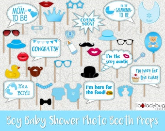 Baby shower photo booth props for boy. Printable. DIY blue baby shower selfie station props. Instant download. PDF Digital file. 300dpi