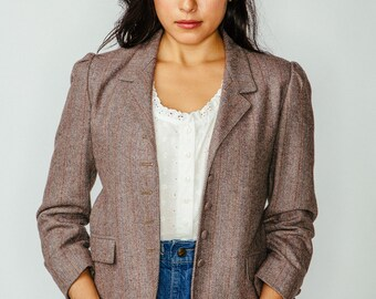 Vintage Cropped Brown Tweed Herringbone Jacket XS