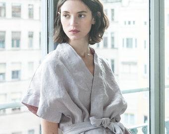Wrap linen kimono VENICE / Washed and soft linen wrap kimono available in 34 colors
