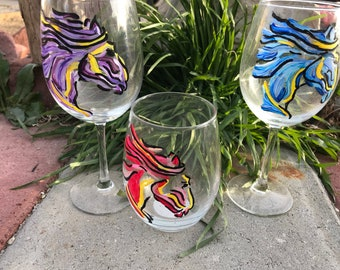 Painted pony  glass