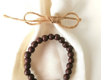 Ladies/Mens Wooden Buddha Head Yoga, Meditation Bracelet, His and Hers Gift,Yoga and meditation accessory