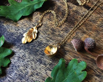 Gold oak leaf necklace - vermeil leaf necklace