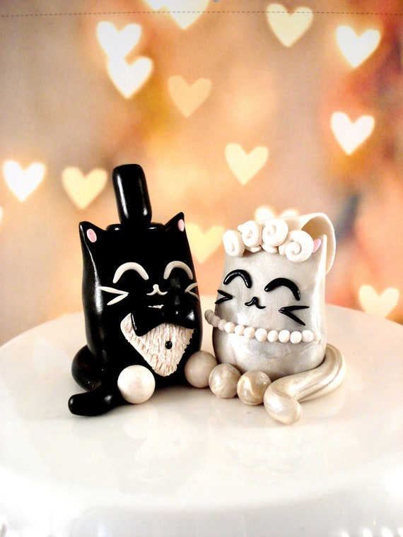 black cats wedding cake toppers kitty cake topper cat wedding cake toppers black and white 11858