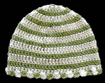"Medium 18"" Girl Child Green and Cream Beanie Beanie Hat Cap, 100% Soft Acrylic, Handmade Crochet"