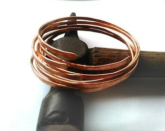 Copper Stacking Bangles Raw Natural Hammered Copper Bracelet Set Healing Wabi Sabi Jewellery FREE UK SHIPPING