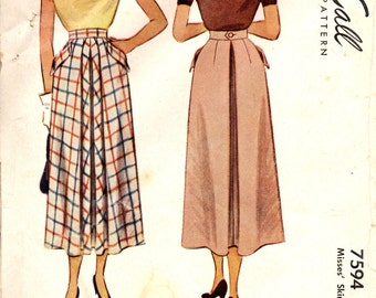 McCall 7594 DEEP INVERTED PLEATS Skirts 1940s ©1949