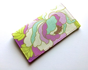 Checkbook Cover, Checkbook Holder, Coupon Holder, Purple and Lime Green Floral, Mothers Day Gift, Secret Pal Gift by 8th Day Encore