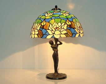 Stained Glass Lamps. Table Lamps. Tiffany lamp. Bedside lamp. Stained glass lamp shade. Lamp with woman. Stained glass lamp flowers