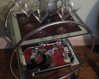 COLLECTON ONLY Art Deco Style Round Two-Tier Mirrored Drinks Trolley