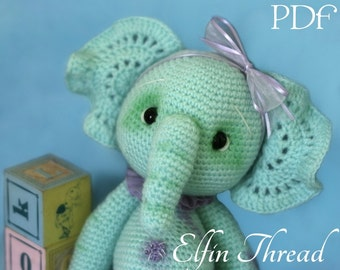 Elfin Thread - Ella, the Elephant Amigurumi Pattern (  crochet Elephant PDF Pattern)